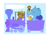 Birthday Train with Animals Prints