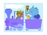 Birthday Train with Animals Premium Giclee Print