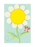 Polka Dot Flower with Butterfly Art