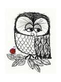 Retro Black and White Owl with Ladybug Poster
