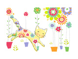 Cat with Flowery Pattern Art