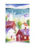 Houses in Seaside Town Posters