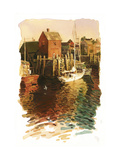 Sailboats in Harbor Prints