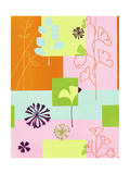 Floral Designs on Colors Posters