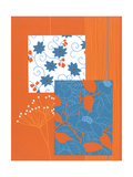 Flower Patterns on Orange Poster