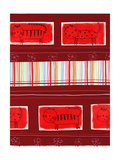 Cat Pattern on Red Background Print