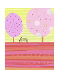 Pink Trees with Park Bench Posters