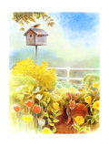 Birdhouse and Bunny in Garden Poster