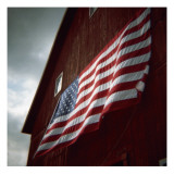 American Flag on Red Barn Posters