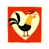 Rooster in Front of Heart Poster
