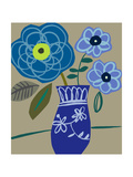 Blue Flowers and Vase Premium Giclee Print
