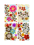 Four Floral Designs Posters