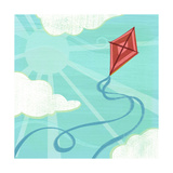 Red Kite in Sky with Clouds Poster