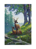 Deer Eating in Forest Prints