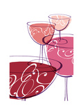 Wine Glasses with Swirls Poster