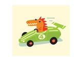Orange Dino in Green Racecar Plakaty