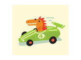 Orange Dino in Green Racecar Posters