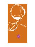Headphones on Orange Background Poster