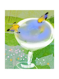 Gold Finches at Birdbath Premium Giclee Print