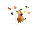 Dog with Butterfly and Flowers Premium Giclee Print