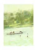 Swimming in the Lake Premium Giclee Print