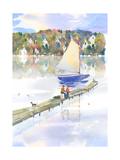 Fishing off the Dock Premium Giclee Print