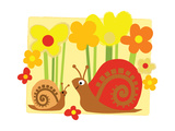 Snail Family in Flowers Prints