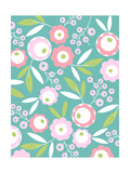 Pink Flower Pattern on Aqua Poster
