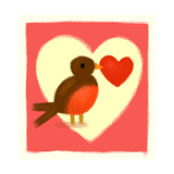 Robin with Heart Stampe