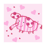 Pink Striped Elephant Print