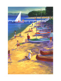 Beach with Boats and People Print
