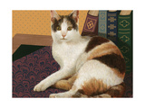 Calico Cat with Books Posters