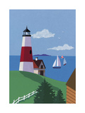 Lighthouse with Sailboats Poster