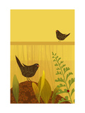 Birds in Garden with Ladybug Posters