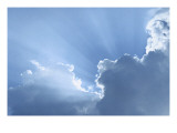 Sky with Rays of Sun and Clouds Posters