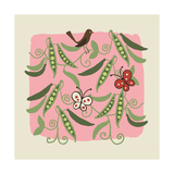 Peapods with Birds and Butterflies Prints