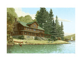 Large Cabin Beside Water Print