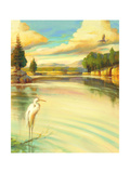 Lake Scene with Heron Art