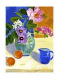 Floral Still Life with Pitcher and Oranges Poster