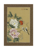 Asian Bird with Flowers Posters