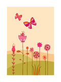Butterflies with Flowers Posters