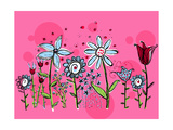 Flower Garden on Pink Prints