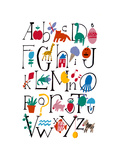 Cute Alphabet with Illustrations Affiche