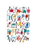 Cute Alphabet with Illustrations Premium Giclee-trykk