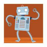 Dancing Robot on Wood Floor Premium Giclee Print