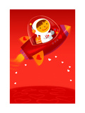 Boy Driving Red Spaceship Posters