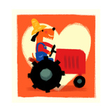 Farmer Dog with Tractor Premium Giclee Print