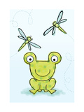Polka Dot Green Frog with Dragonflies Print