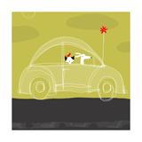 Dog, Cat, Bird in Car Poster