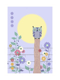 Owl on Fence and Moon with Flowers Art